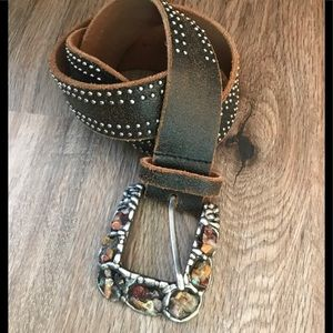 🌟💯AWESOME STONE BUCKLE 💯LEATHER BELT 🎄🎁